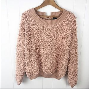 Mustard seed•Blush pink chenille loop sweater NWT